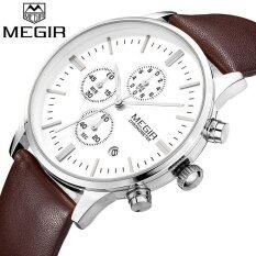 ซื้อ Megir Official Classical Male Clock Round Case Calendar Display Real Leather Strap Water Writwatches Ml2011G Intl ถูก