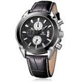ราคา Megir Quartz Waterproof Chronograph Watch นาฬิกาข้อมือผู้ชาย สีน้ำตาลเข้ม สายหนังแท้ รุ่น V01 Blk Megir ไทย