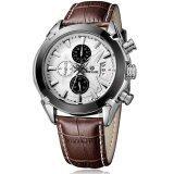 ขาย Megir Quartz Waterproof Chronograph Watch นาฬิกาข้อมือผู้ชาย สีน้ำตาลเข้ม สายหนังแท้ รุ่น V01 Br ไทย ถูก
