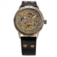 ราคา Men Automatic Mechanical Watch Skeleton Vintage Bronze Case Black Leather Strap Pmw364 นาฬิกาข้อมือชาย แฟชั่น สปอร์ต เท่ Intl Shenhua เป็นต้นฉบับ