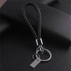 ผู้ชายแฟชั่นถักหนังพวงกุญแจกุญแจรถ Keyfob พวงกุญแจของขวัญสีดำ - นานาชาติ