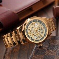 ซื้อ Men Fashion Skeleton Automatic Mechanical Gold Stainless Steel Business Sport Watch Pmw451 นาฬิกาข้อมือผู้ชาย สายสแตนเลส รุ่น Intl ใน Thailand