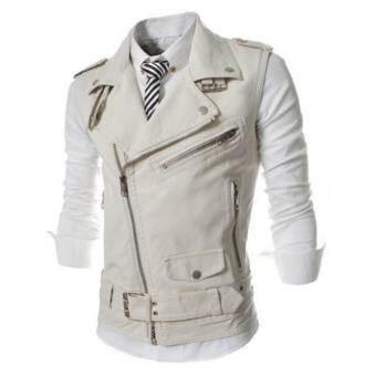 Men Korea Style PU Leather Motorcycle Vest Jackets-
