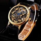 ขาย ซื้อ Men Skeleton Gold Steel Hand Winding Mechanical Leather Wrist Watch Pmw197 นาฬิกาข้อมือชาย แฟชั่น สปอร์ต เท่ Intl จีน