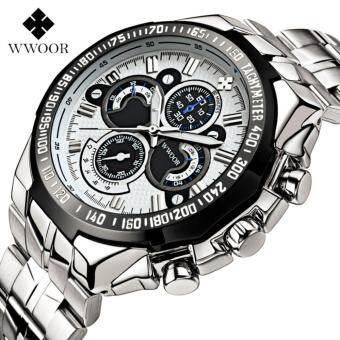 รีวิว Men Watches Brand WWOOR Military Big Dial Steel Men's Watch Male Luminous Watch Waterproof Quartz