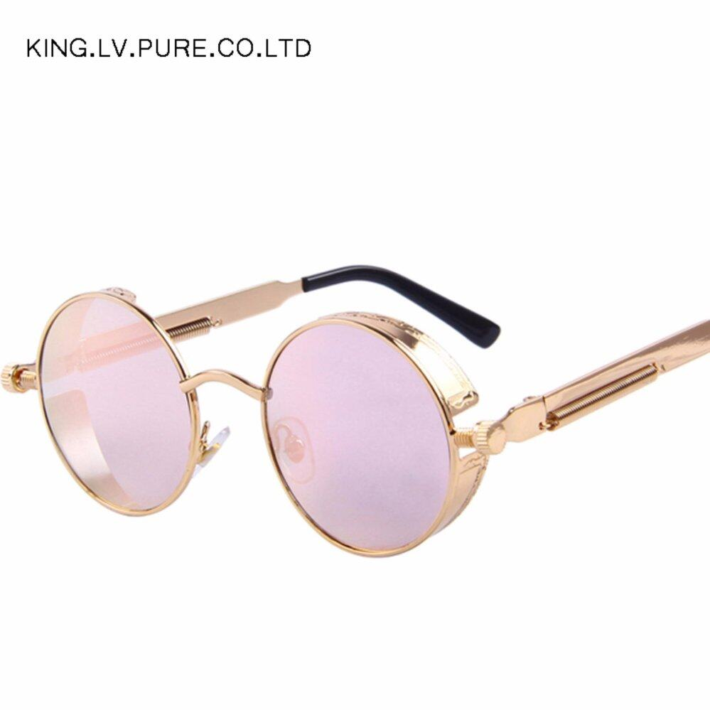 Men Women Fashion Glasses Round Metal Sunglasses Steampunk Retro Vintage Sunglasses UV400 – intl