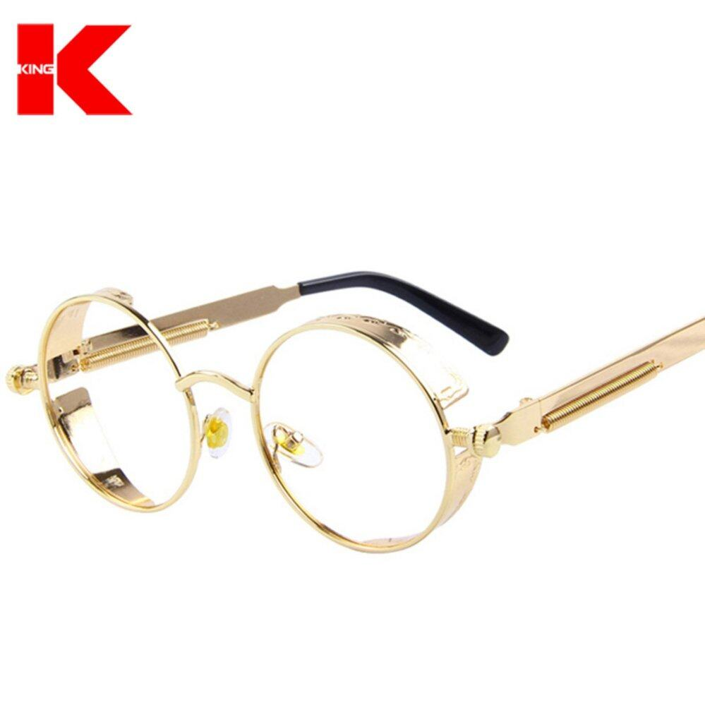 Men Women Fashion Glasses Round Metal Sunglasses Steampunk Retro Vintage Sunglasses UV400 - intl