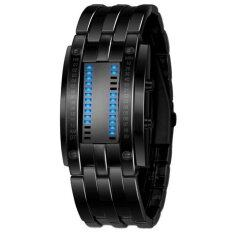 Mens Black Stainless Steel Date Digital Led Bracelet Sport Watches Black - Intl.