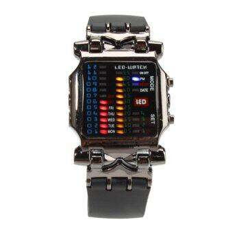 Men's Boy Personality Rubber Digital Quartz LED Wrist Watch PX TPU Watchband Black - intl
