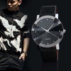 ขาย ซื้อ Men S Business Casual Quartz Leather Band Sport Military Wrist Watchs Black Intl ใน จีน