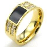 ราคา Mens Cubic Zirconia Stainless Steel Ring Classic Gold Black Intl ถูก
