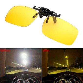 แว่นตากันแดดผู้ชายแบบพับเลนส์ขึ้นแว่นตาตัดแสงแว่นตาสำหรับขับรถสีเหลือง (ไซส์: แอล)
