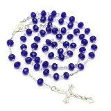 ขาย Mens Royal Blue คาทอลิก Virgin Mary คริสตัลลูกปัดสตรีเงินกุหลาบสร้อยคอ 72Cm Unbranded Generic ผู้ค้าส่ง