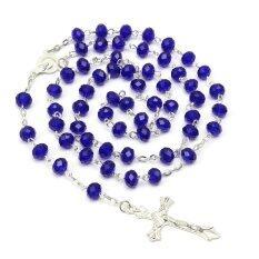 ซื้อ Mens Royal Blue คาทอลิก Virgin Mary คริสตัลลูกปัดสตรีเงินกุหลาบสร้อยคอ 72Cm ถูก จีน