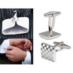 ผู้ชายสแตนเลสธุรกิจเสื้อซิลเวอร์สแควร์ประดับงานแต่งงานกระดุมข้อมือ.