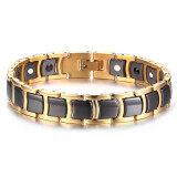 ขาย Men S Stainless Steel Ceramic 2 In 1 Theraphy Healing Germanium Magnetic Bracelet Black Gold Intl ถูก ใน จีน
