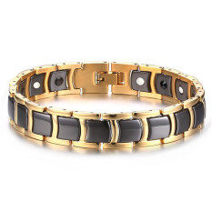 ราคา Men S Stainless Steel Ceramic 2 In 1 Theraphy Healing Germanium Magnetic Bracelet Black Gold Intl ใหม่