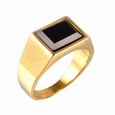 ซื้อ บุรุษสตรีมีวงแหวนสเตนเลสขัดเงาสีดำทอง ออนไลน์