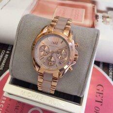 Michael Kors Bradshaw Mini Chronograph Rose Dial Rose Gold Tone Ladies Watch Mk6066 เป็นต้นฉบับ