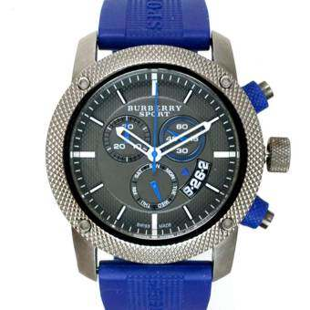 Michael Kors  Burberry Sport Chronograph Men's Watch Rubber Strap BU7714 - Blue/Grey(Black)