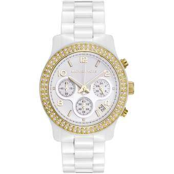Michael Kors Ladies Chronograph Watch MK5237 with White Ceramic Bracelet Strap Gold Plated Stone Set Bezel and White Dial