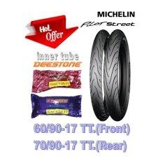 ซื้อ Michelin ยางนอกมอเตอร์ไซด์ รุ่น Pilot Street 60 90 17 Tt F 70 90 17 Tt R พร้อมยางในใหม่ Deestone ครบชุด