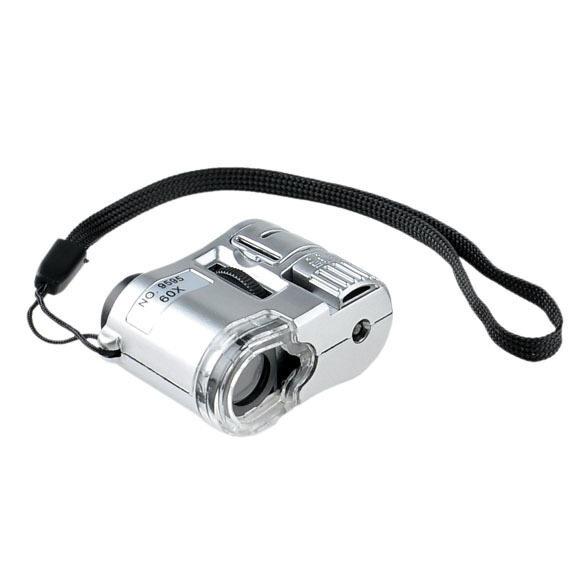 ราคา Mini 60X ซูม Led กล้องจุลทรรศน์พ็อกเก็ตเงิน สกุลเงิน ตรวจจับ จีน