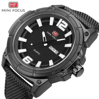 MINI FOCUS นาฬิกาสุดหรูนาฬิกาข้อมือมียี่ห้อแฟชั่นที่มีชื่อเสียงกีฬา Cool Men นาฬิกาควอตซ์ปฏิทินกันน้ำหนังข้อมือนาฬิกาข้อมือสำหรับชาย MF0136G-