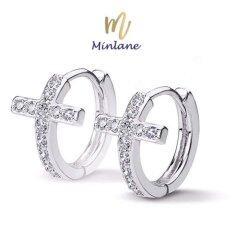 ราคา Minlane Jewelry Luxury Micro Paved Crystal Cubic Zirconia Romantic Heart Hoop Earrings ต่างหู เงิน ทองคำขาว ไม้กางเขน Mj 006 ออนไลน์ สมุทรปราการ