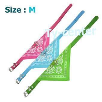 MJ - Collars ปลอกคอสัตว์เลี้ยง แพ็ค 3 ชิ้น 3 สี ไซต์ M ปลอกคอสุนัข แมว มีปกเสื้อผ้าพันคอ ปรับขนาดได้ (สีชมพู สีฟ้า สีเขียว)