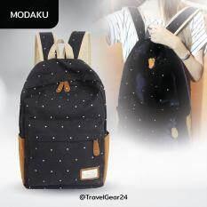 ทบทวน Modaku กระเป๋าแฟชั่น กระเป๋าเป้สะพายหลัง รุ่นลายจุด Polka Dot Shoulder Bag Backpack Sch**L Rucksak Black สีดำ