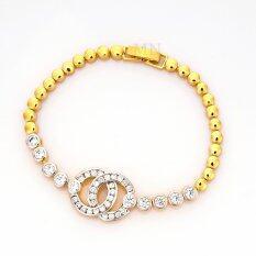 ความคิดเห็น Mono Jewelryสร้อยข้อมือเงิน 925 หุ้มทองคำ แท้ 24Kทองประดับเพชรคลอรัสเซียน้ำงาม รุ่นJ0976 Gold