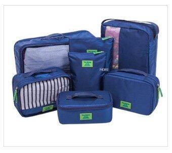Mori กระเป๋าจัดระเบียบเสื้อผ้าสำหรับเดินทาง กระเป๋าจัดระเบียบ เซ็ท 7 ใบ Bag Organizer Set 7 pcs (Navy Blue / สีน้ำเงิน)