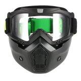 Mortorcycle Mask Detachable Goggles And Mouth Filter For Open Face Helmet Motocross Ski Snowboard Intl ใหม่ล่าสุด