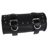 ซื้อ รถจักรยานยนต์สีดำกระเป๋าหนังเทียมกระเป๋าอานม้าเครื่องม้วนเก็บสำหรับNharley ถูก