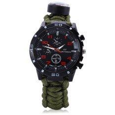 ราคา Multifuctional Survival Paracord Bracelet Scraper Whistle Thermometer Flint Fire Starter Gear Bangle Watch Green ออนไลน์ จีน