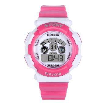 นาฬิกาข้อมือดิจิตอลอิเล็กทรอนิกส์สปอร์ตอเนกประสงค์กันน้ำ (สีชมพูเข้ม)