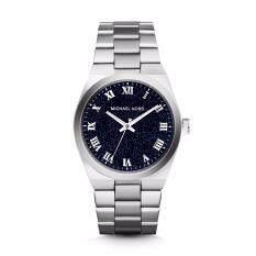 ส่วนลด นาฬิกาข้อมือสุภาพสตรี Michael Kors Channing Midnight Blue Shimmer Dial Stainless Steel Ladies Watch Mk6113 Michael Kors