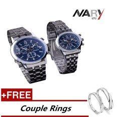 ขาย ซื้อ Nary 6033 Dial คู่รักคู่รักแบบคลาสสิกผู้หญิงผู้ชายควอตซ์สแตนเลส เหล็กนาฬิกาข้อมือสีฟ้า ฟรีปรับคนรักแหวน ใน จีน
