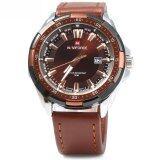 ราคา ราคาถูกที่สุด Naviforce 9056 Men Leather Band Quartz Watch 30M Water Resistant Luminous Intl