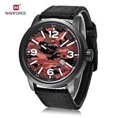 ราคา Naviforce 9080 Male Quartz Watch Luminous Date Display 3Atm Canvas Band Wristwatch Intl ใน Thailand