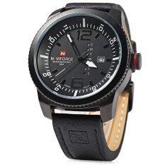นาฬิกาควอทซ์ Naviforce ตัวผู้สีดำกันน้ำเคส 9063แผ่น ขาวกับสีดำ ถูก