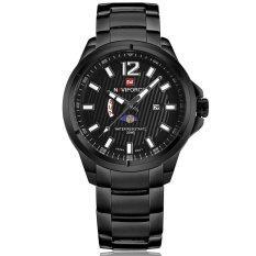 Naviforce นาฬิกาข้อมือชาย หน้าปัดดำ แสดงสัปดาห์และวันที่ สายเหล็ก สีดำ เป็นต้นฉบับ