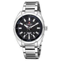 ราคา Naviforce นาฬิกาข้อมือชาย หน้าปัดดำ เรือนเงิน สายเหล็ก สีดำ เงิน เป็นต้นฉบับ