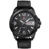 ขาย Naviforce นาฬิกาข้อมือผู้ชาย แสดงวันและวันที่ สีดำ ตัวเลขเทา สายหนัง ผู้ค้าส่ง
