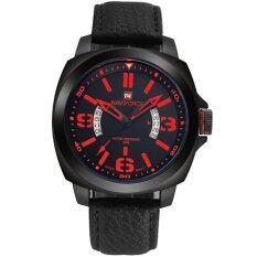 ทบทวน Naviforce นาฬิกาข้อมือผู้ชาย เรือนเหลี่ยมโค้ง ตัวเลข เข็มสีแดง สายหนัง สีดำ
