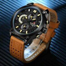 ขาย Naviforce นาฬิกาข้อมือผู้ชาย สายหนังแท้ บอกวันที่และสัปดาห์ ระบบโครโนกราฟ สไตล์หรูหรา รุ่นNf9071 ไทย ถูก
