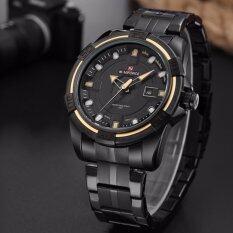ส่วนลด สินค้า Naviforce นาฬิกาข้อมือ สายแสตลเลสรมดำ รุ่น Nf9079 Bby หน้าปัดคาดเหลืองกันน้ำ