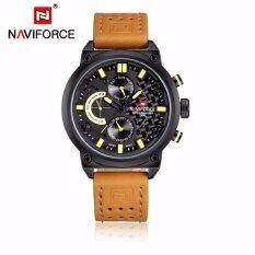 ราคา Naviforce นาฬิกาข้อมือ สายหนังสีน้ำตาล รุ่น Nf9068 Bybn หน้าปัดใช้งานได้จริงทุกเข็ม