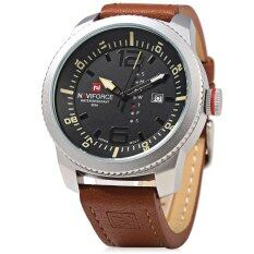 ขาย Naviforce Nf 9063M Male Quartz Watch Black Case Calendar Display Dial Leather Band Wristwatch ถูก